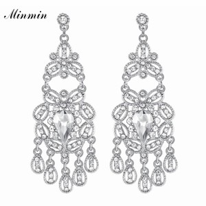 Other Sparkling Crystal Chandelier Dangle Earrings for Woman Fashion Big Hanging Bride Earrings Wedding Party Jewelry
