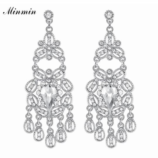 Preload https://img-static.tradesy.com/item/24571533/silver-sparkling-crystal-chandelier-dangle-for-woman-fashion-big-hanging-bride-wedding-party-earring-0-0-540-540.jpg