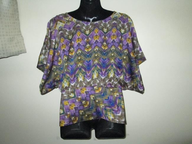 Anthropologie Abstract Dolman Spring Summer Top Multicolored Image 2