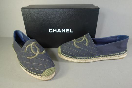 Chanel Navy Blue & Green Flats Image 1
