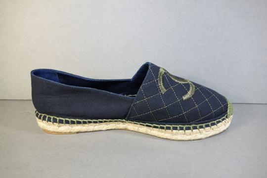Chanel Navy Blue & Green Flats Image 3