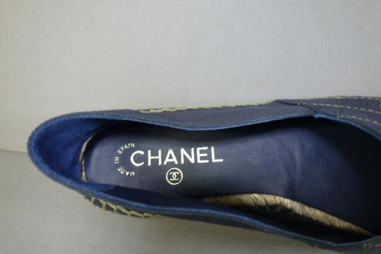 Chanel Navy Blue & Green Flats Image 4