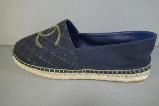 Chanel Navy Blue & Green Flats Image 5