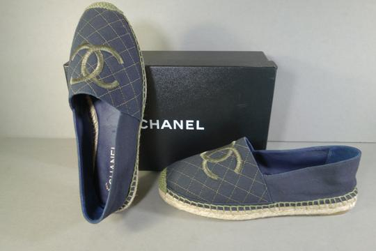 Chanel Navy Blue & Green Flats Image 6