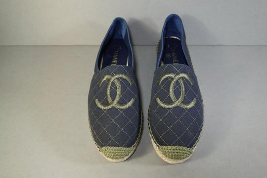 Chanel Navy Blue & Green Flats Image 7