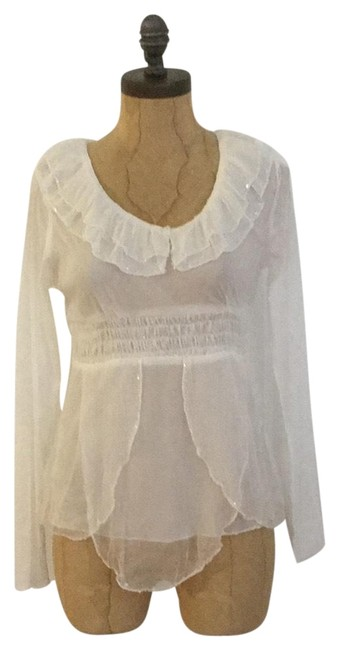 Hazel Sheer Longsleeve Sequin Top white Image 0