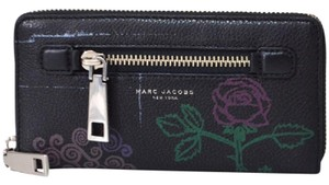 Marc Jacobs Marc Jacobs Gotham Rose Tattoo Black Leather Continental Wallet