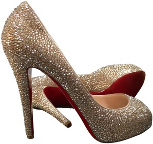 5d6694a40dda Christian Louboutin Gold Very Riche Strass 120 Swarovski Crystal ...