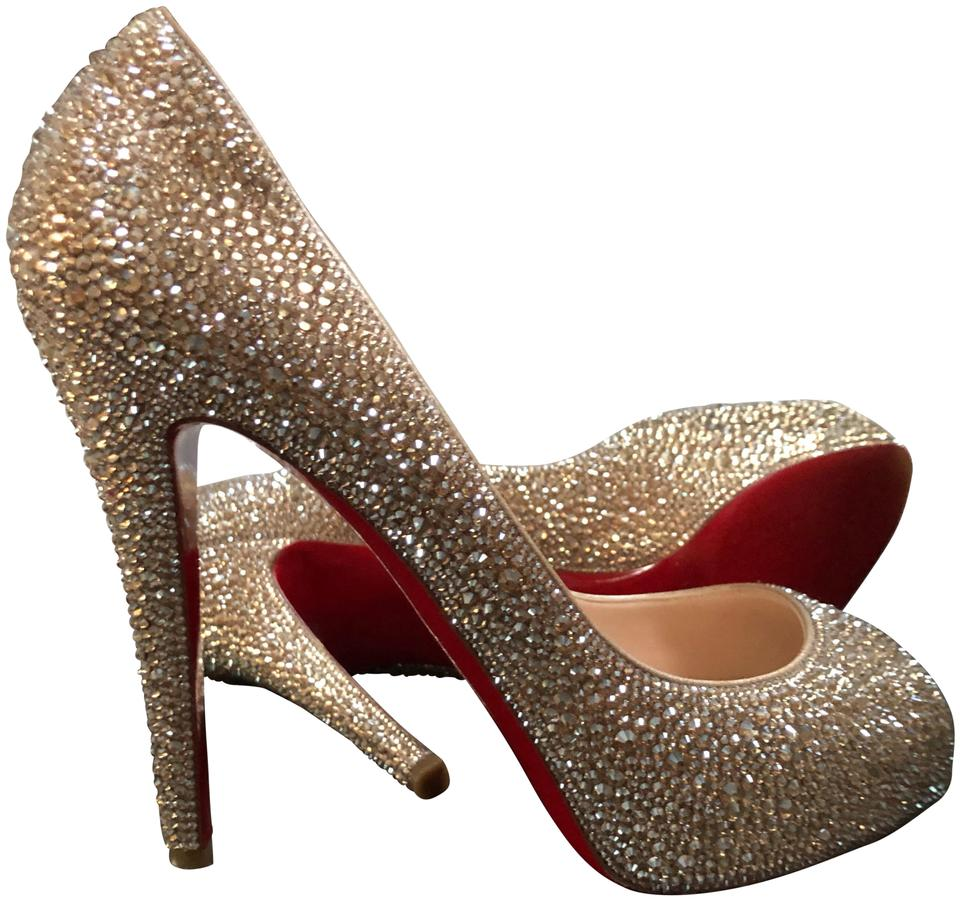 Christian Louboutin Gold Very Riche Strass 120 Swarovski Crystal Peep-toe Heels  Sandals Pumps 7afd8ed963