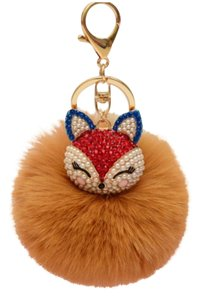 Other New Fashion Rhinestones 100% Real Fox Fur Ball Plush Keychain Car Key Chain for Women Bag Pendant