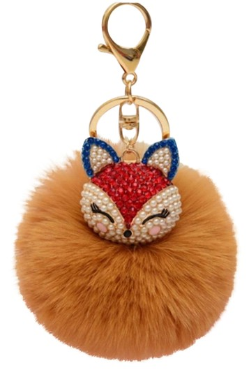 Other New Fashion Rhinestones 100% Real Fox Fur Ball Plush Keychain Car Key Chain for Women Bag Pendant Image 0