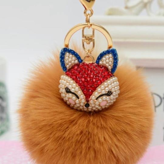 Other New Fashion Rhinestones 100% Real Fox Fur Ball Plush Keychain Car Key Chain for Women Bag Pendant Image 1