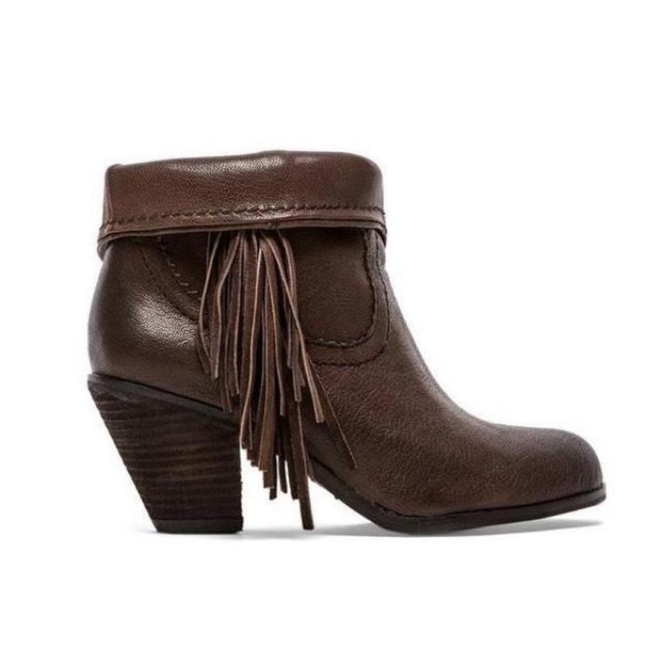 fd3472abfed5 Sam Edelman Brown Leather Louie Fringe Boots Booties Size US 10 ...