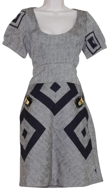Item - Gray Gay Wool Cotton Geometrical Print Sleeve Mid-length Short Casual Dress Size 6 (S)
