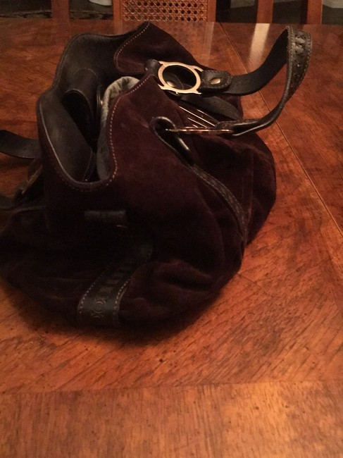 Emporio Armani Great Quality And Dark Brown Suede Leather Baguette Emporio Armani Great Quality And Dark Brown Suede Leather Baguette Image 2