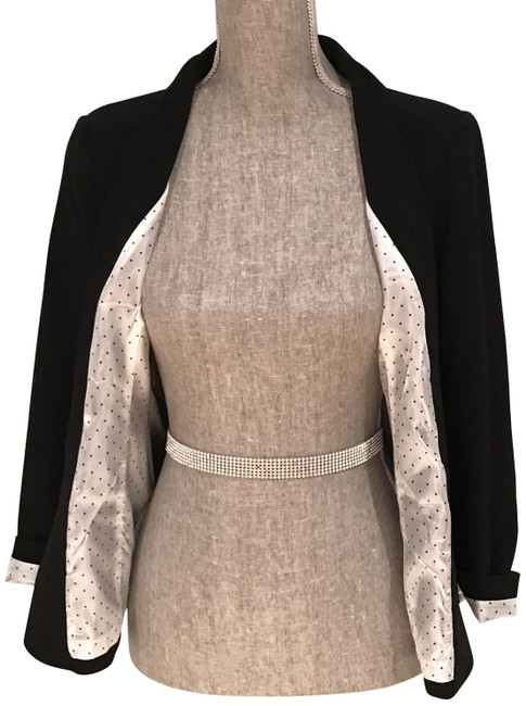 Preload https://img-static.tradesy.com/item/24572084/kensie-black-blazerjacket-with-polka-dot-lining-rolled-cuff-small-pant-suit-size-6-s-0-2-650-650.jpg