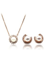Ocean Fashion Rose gold wild crystal pearl earrings necklace set