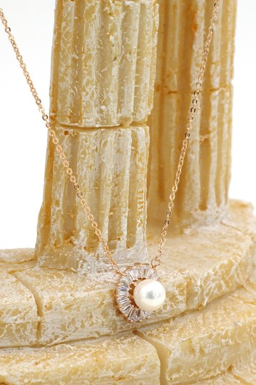 Ocean Fashion Rose gold wild crystal pearl earrings necklace set Image 5