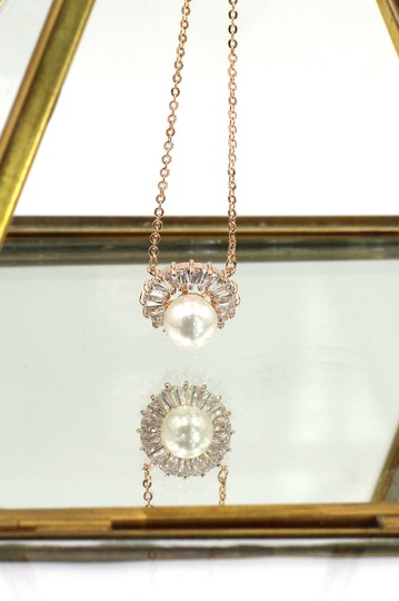 Ocean Fashion Rose gold wild crystal pearl earrings necklace set Image 7