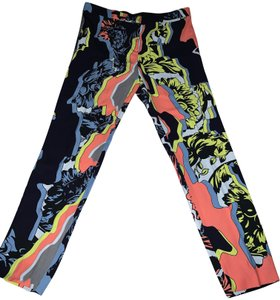Versace Vintage Colored Cropped Silky Capris Blue/Multi