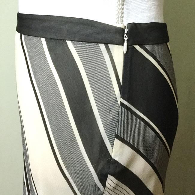 Banana Republic Silk Layered Cocktail Career Fit Flare Skirt Grey & Cream Image 3