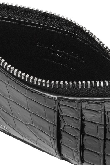 Saint Laurent Croc-effect patent-leather cardholder Image 1