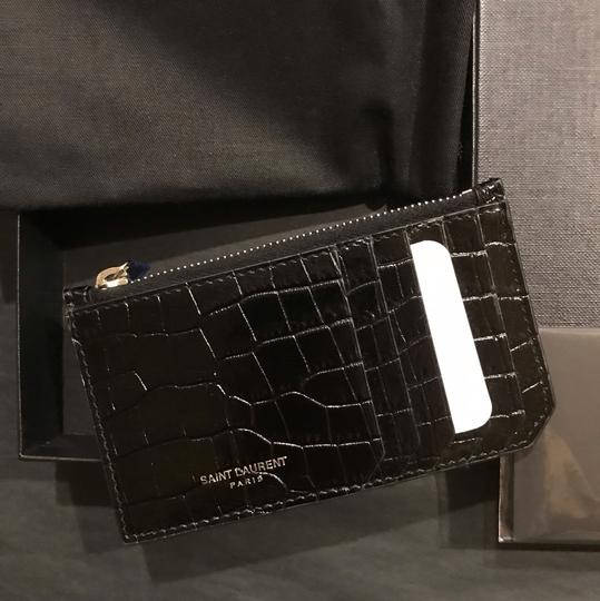 Saint Laurent Croc-effect patent-leather cardholder Image 3
