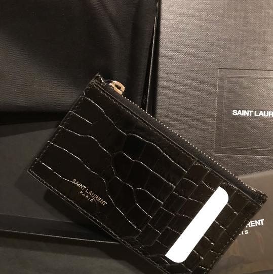 Saint Laurent Croc-effect patent-leather cardholder Image 4