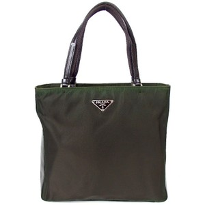 Prada Buckle Nylon Leather Nylon Tote in DARK GREEN