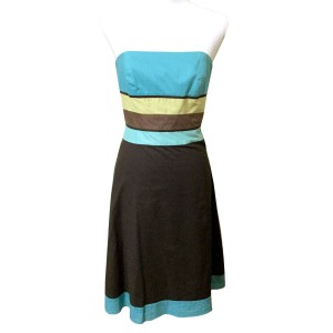 Ann Taylor LOFT short dress Brown & Turquoise Sundress Strapless Party Cotton on Tradesy