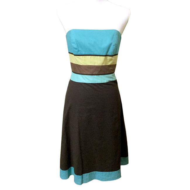 Preload https://img-static.tradesy.com/item/24572560/ann-taylor-loft-brown-and-turquoise-color-block-strapless-cotton-party-mid-length-short-casual-dress-0-0-650-650.jpg