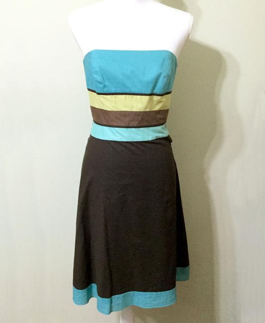 Ann Taylor LOFT short dress Brown & Turquoise Sundress Strapless Party Cotton on Tradesy Image 10