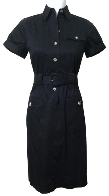 Item - Black Classic Belted Short Sleeve Shirtdress Mid-length Work/Office Dress Size 0 (XS)