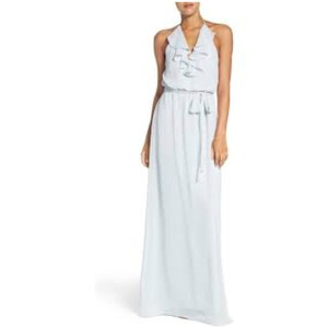 Amsale Cloud Dani Ruffle Halter Neck Chiffon Gown Feminine Bridesmaid/Mob Dress Size 8 (M)