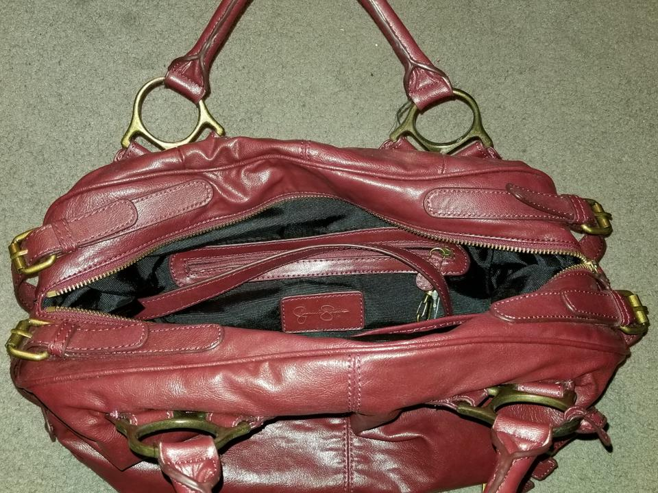 25844a78f9e Jessica Simpson Burgandy Faux Leather with Gold Hardware Satchel ...