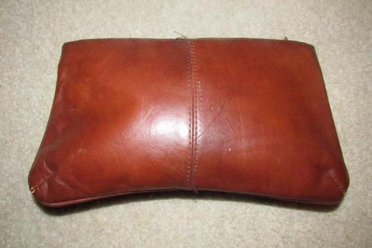 Dior Rare Shape/Style Clutch/Cosmetic Mint Vintage Chestnut Boho brown leather with gold Dior logo and front pocket Clutch Image 1