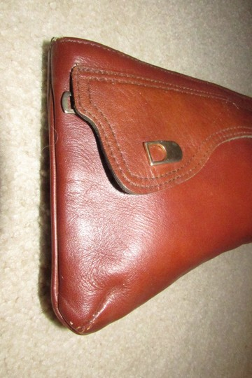 Dior Rare Shape/Style Clutch/Cosmetic Mint Vintage Chestnut Boho brown leather with gold Dior logo and front pocket Clutch Image 3