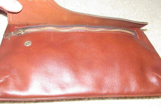 Dior Rare Shape/Style Clutch/Cosmetic Mint Vintage Chestnut Boho brown leather with gold Dior logo and front pocket Clutch Image 4