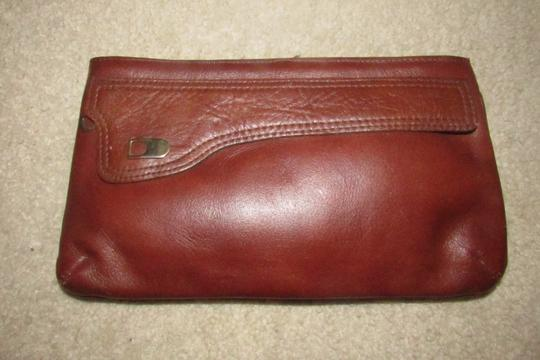 Dior Rare Shape/Style Clutch/Cosmetic Mint Vintage Chestnut Boho brown leather with gold Dior logo and front pocket Clutch Image 6