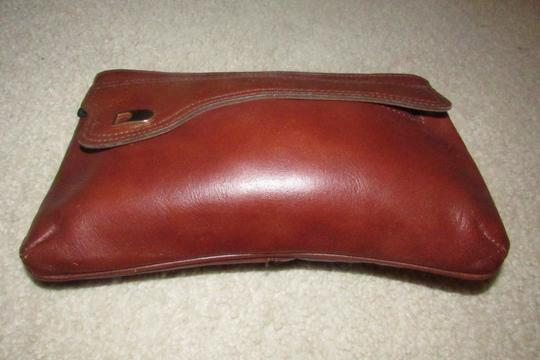 Dior Rare Shape/Style Clutch/Cosmetic Mint Vintage Chestnut Boho brown leather with gold Dior logo and front pocket Clutch Image 7