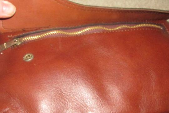 Dior Rare Shape/Style Clutch/Cosmetic Mint Vintage Chestnut Boho brown leather with gold Dior logo and front pocket Clutch Image 8