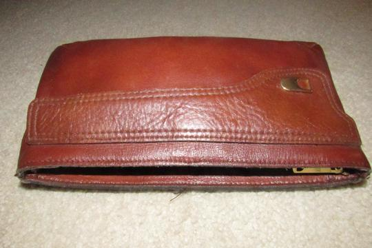 Dior Rare Shape/Style Clutch/Cosmetic Mint Vintage Chestnut Boho brown leather with gold Dior logo and front pocket Clutch Image 9