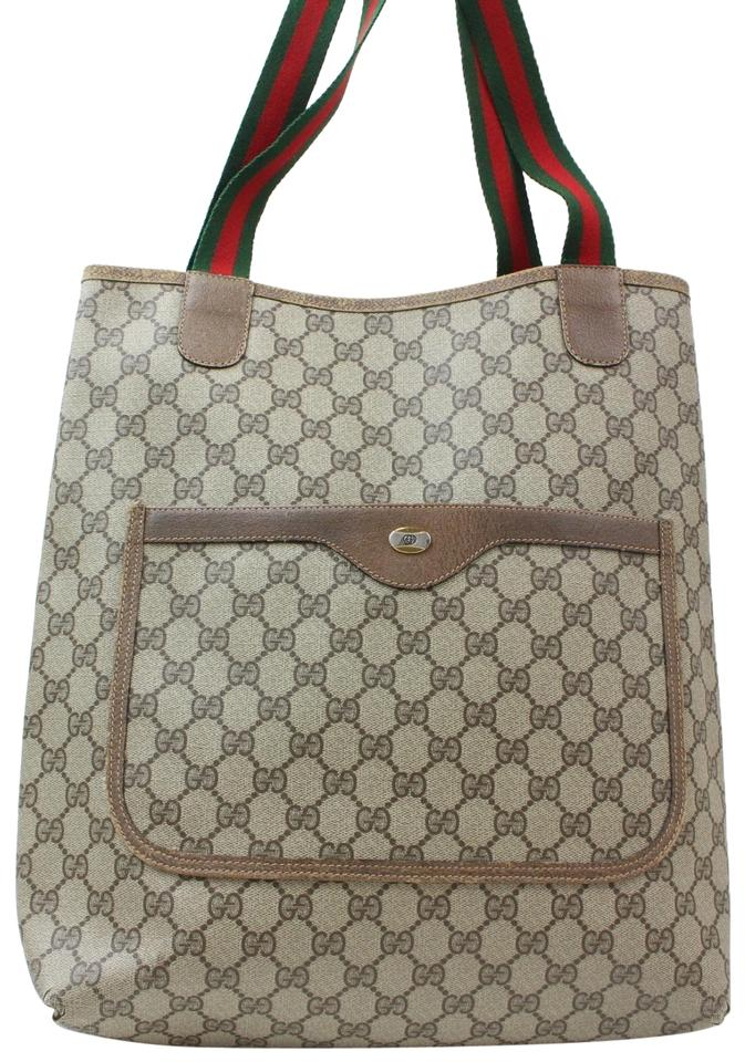 7f914b8adf2587 Gucci Shopping Sherry Monogram Web Large 869413 Brown Coated Canvas Tote