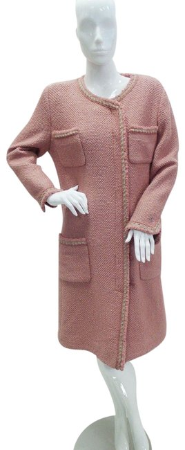 Item - Pink Tweed Wool and Silk Jacket Coat Size 12 (L)