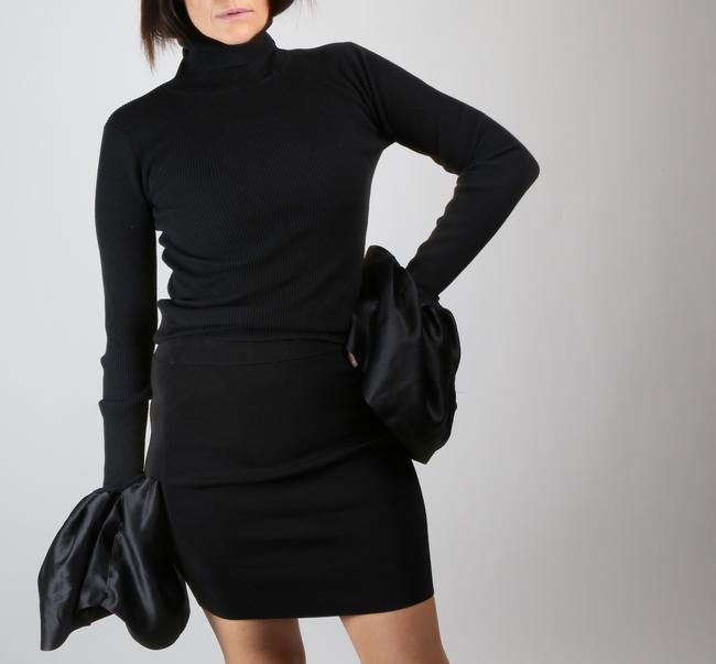 T by Alexander Wang Formal Stretchy Mini Skirt Black Image 2