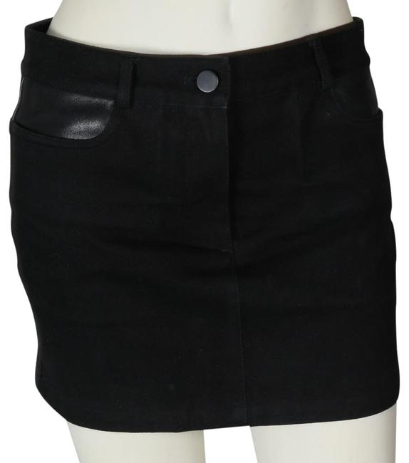 Preload https://img-static.tradesy.com/item/24572862/t-by-alexander-wang-black-denim-and-leather-skirt-size-0-xs-25-0-1-650-650.jpg