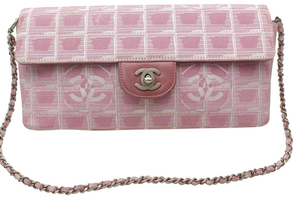 9c697cef338d Chanel East West Quilted Chocolate Bar Chain Flap 869394 Pink Canvas ...
