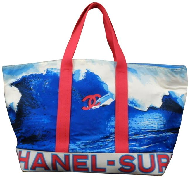 Item - (Rare) Extra Large Wave Surf Tote 233779 Blue Canvas Beach Bag