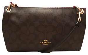 1bae3cbb78b8 Coach Charley Black Brown Coated Canvas Cross Body Bag - Tradesy