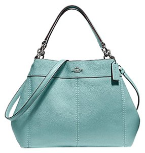 Coach Leather Tags New Edde Large Satchel in cloud blue